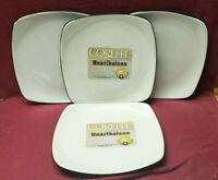 Four (4) CORELLE HEARTHSTONE China - ROYAL WHITE Pattern - Square SALAD PLATES