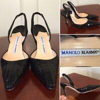 MANOLO BLAHNIK Black Sequined Slingback Point-Toe Heels Size 36 US 6