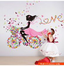 Removable Flower Girl Wall Art Sticker Vinyl Decal DIY Room Home Mural Decor UK