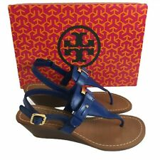 $278 Tory Burch Casey Wedge Sz 6 Thong Sandals Blue Leather Gold Logo Slingback