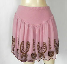Free People Mini Skirt Chiffon Beading Trim Light Pink Fit-Flared Size XS