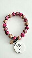 Nuevo Jilzara Premium Arcilla pequeño grano Rosa Berry Stretch Pulsera Mujer Regalo