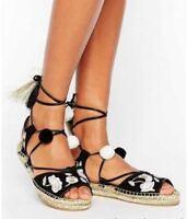 Womens Sandal Black Gold Pom Pom Flat Shoe Size 3 4 5 6 7 8 9 EX River Island