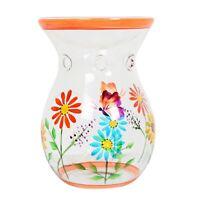 Village Candle 14cm Glass Wax Melt / Oil Burner - Orange Floral