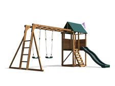 Kids Swings Slide Set Wooden Climbing Frame Monkey Bar Playhouse - SquirrelFort