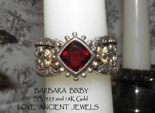 BARBARA BIXBY~Old World Romantic Garnet Ring~Size 8~SS/925+18K Gold~11.25 grams