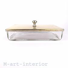 alter Glas Kubus Behälter Messing Glass Brass Cube Box Art Deco um 1920-1930