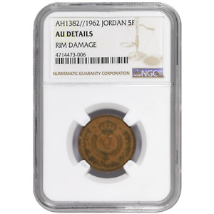 The Hashemite Kingdom of Jordan 5 Fils 1962 Hussein NGC AU Authentic KM# 9