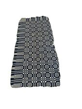 Antique 1800s hand woven coverlet, reversible jacquard blue Indigo and white.