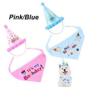 Pet Dog Cat Happy Birthday Hat Headwear Bandana Neckerchief Ties Party Fancy UK