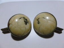 JAPANESE CHINESE ANTIQUE ART NOUVEAU DECO STERLING SILVER BONE CUFFLINKS LARGE!