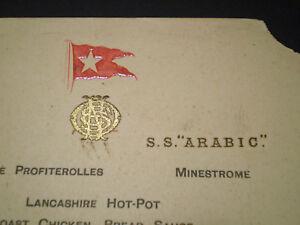 White Star Line, SS Arabic, Original 1912 Dinner Menu. 8 wks prior Titanic Loss