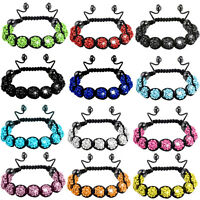 Premium Clay Crystal Shamballa Style Disco Friendship Gem Balls Czech 9 Bracelet
