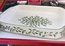 "Lenox ""Holiday Holly"" American By Design Large 15 1/2� Baker Casserole Dish Nib"