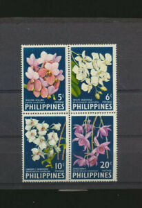 Orchids - Flowers Philippines #853a Mint NH SeTenant Block Perforated 1962