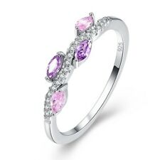 Gorgeous And Dainty Amethyst & Pink Topaz Gemstone Sterling Silver Ring