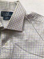 Polo Ralph Lauren Sz 16.5 32/33 Blue Yellow Plaid Regent Classic Fit Shirt
