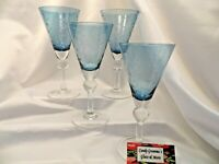Blue Etched Crystal Water Wine Glass Set of four