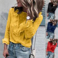 Women Ladies Casual Lace Polka Dot O Neck T-shirt Long Sleeve Tops Blouse