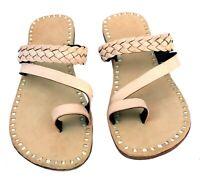 Womens leather slippers sandals flip flops slides handmade in India beige color