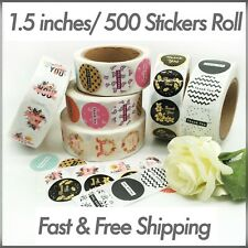 """1.5"""" / 500 Pcs Roll Round Thank You Stickers Labels Round Seals Holiday Floral"""