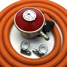 27mm PATIO GAS REGULATOR WITH 2m HOSE/PIPE & 2 CLIPS Fits Flogas & Calor Gas