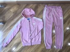 Adidas Womans Pink White Tracksuit Trousers Jacket Set Size 12