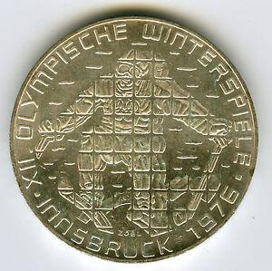 ☆ AUSTRIA • 1974 ☆ SILVER 100 SCHILLING • INNSBRUCK 1976 WINTER OLYMPICS  ☆C3321