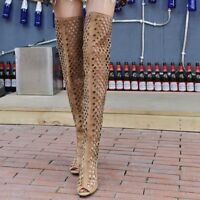 Women Peep Toe Over Knee Boots High Heels Stilettos Hollow Out Lace-up Shoes