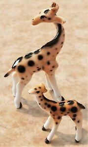 "VTG Tiny Porcelain Giraffe Figurine Mom Baby Miniature Hand Painted Statue -3"""