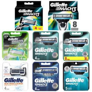 GILLETTE SKINGUARD  sensitive MACH3 TURBO RAZOR 100% GENUINE UK STk 4/8 BLADES