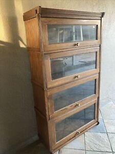 Solid Oak Lawyer Book Shelves Cabinet