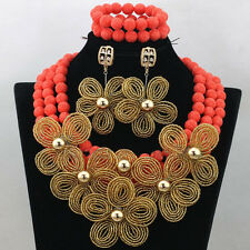 African Nigerian Coral Beads with Detailed Handmade Flower Brooch Jewellery Set