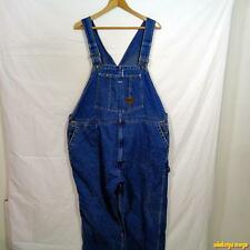 WORK n' Sport Vtg Cotton Denim Jeans Bib Overalls Mens 48 x 30 Blue made in USA