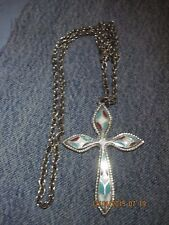 VINTAGE BEAUTIFUL ART DECO SILVER 'INLAID' STONE LOOK LG CROSS NECKLACE...#8265