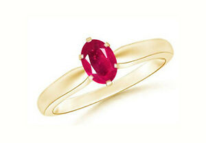 14KT Yellow Gold With 1.70 Carat Oval Shape 100% Natural Red Ruby Solitaire Ring