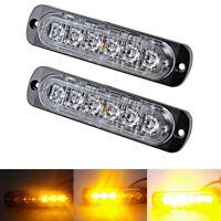 2x Car Truck 6 LED Strobe Light Flash Emergency Hazard Warning Amber Lamp 12~24V