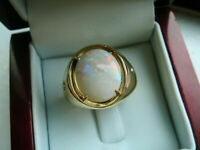 3Ct Oval Cut Fire Opal Engagement Solitaire Mens Ring 14K Yellow Gold Finish
