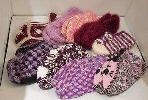 A pair of Women girls winter knitted slipper socks 100% handmade various options
