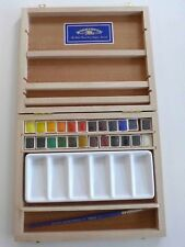 WINSOR & NEWTON WATERCOLOUR PAINT BOX x24 COLOURS WITH ARTISTS BRUSH *NEW*