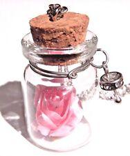 PINK FLOWER WISHING JAR NECKLACE bottle vial rose pendant love spring fairy D6