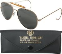 Gold Frame UV Acrylic Air Force US Style Aviators Sunglasses With Case