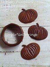 """Rusty PUMPKIN Cutouts 12 pcs Tin with Roll 24 Gauge Rusty Wire 1 7/8 W 1 1/2"""" L"""