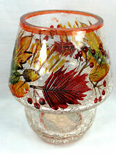 Autumn Garland Crackle Glass Votive Holder Candle Accessory Home Decor
