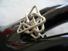 RETRO VINTAGE STERLING SILVER MODERNIST MOD GEOMETRIC RING SIZE 8 or Q HAND MADE