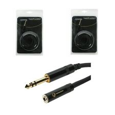 """2 SuperFlex Gold 10 ft Stereo Headphone Extension Cables 1/4"""" TRS to 1/8"""""""