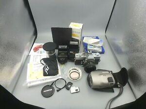 Camera Film & Flash lot, Minolta SRT303 w/50mm f1.7,Yashica Samurai 4000iX LOOK!