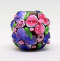 10pcs handmade Lampwork glass round Beads  purple pink flower 15mm