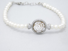 Modern bracelet Carved cameo flower pearls in DISCOUNT x 925 silver Made Italy