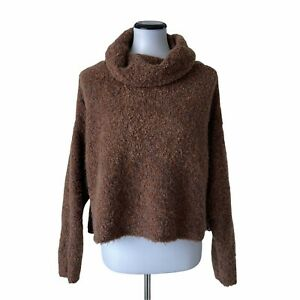 VICI Womens S Sweater Oversized Crop Textured Cowl Brown Knit